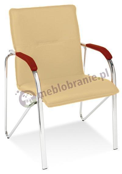 Krzesło z tapicerowanym oparciem Samba Chrom Koniak