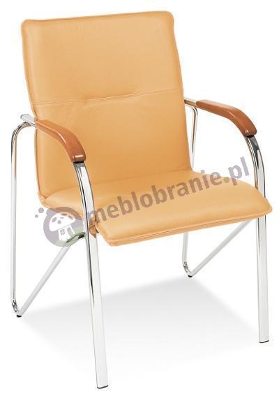 Krzesło Samba z drewnianymi podłokietnikami Chrom Oranż
