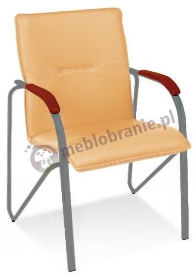 Fotel konferencyjny Samba Nowy Styl Aluminium Koniak
