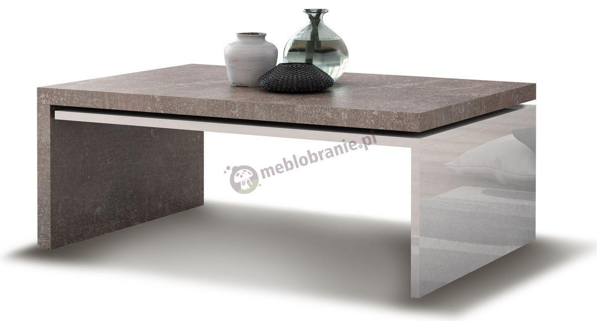 Stolik kawowy Modena biały połysk - ciemny beton
