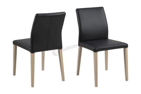 Actona Zina krzesło do jadalni czarna skóra