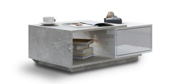 Ława Nancy biały połysk - jasny beton
