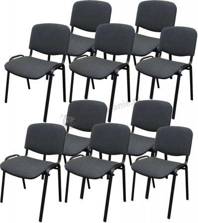 Krzesło ISO Black C38 - tapicerowane szare - 10 sztuk