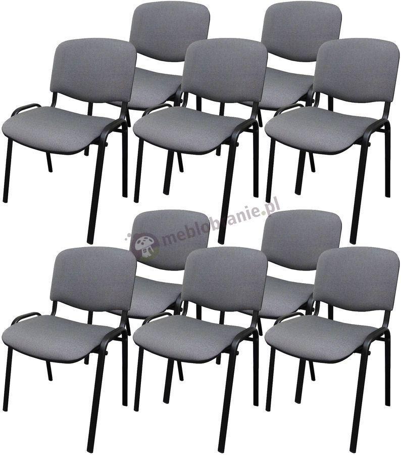 Krzesło ISO Black C73 - 10 sztuk - tapicerowane szaro-czarne