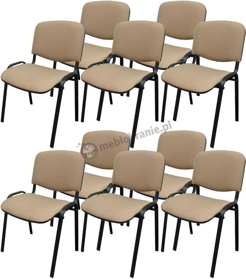 Krzesło ISO Black C4 - 10 sztuk - tapicerowane beżowo-brązowe