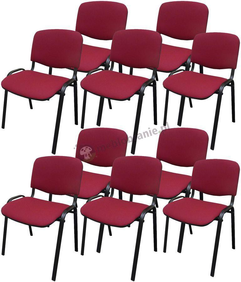 Krzesło ISO Black C29 - 10 sztuk - tapicerowane bordowe