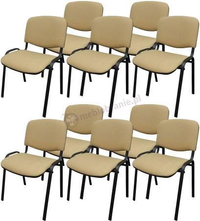 Krzesło ISO Black C18 - tapicerowane beżowo-brązowe - drobna kratka - 10 sztuk