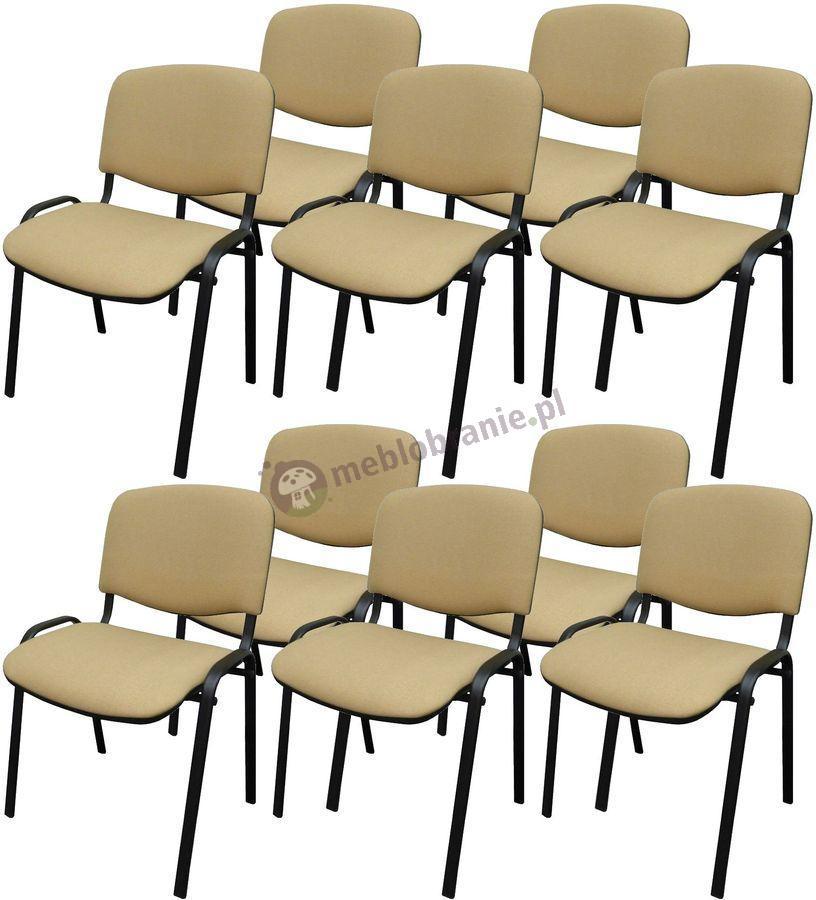 Krzesło ISO Black C18 - 10 sztuk - tapicerowane beżowo-brązowe - drobna kratka