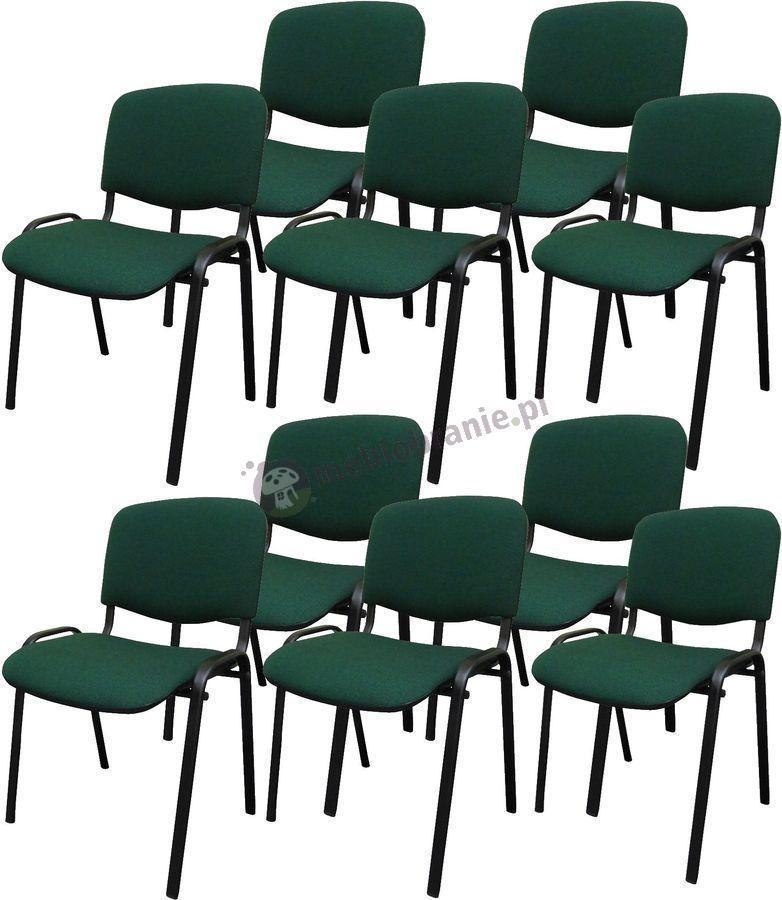 Krzesło ISO Black C32 - 10 sztuk - tapicerowane czarno-zielone