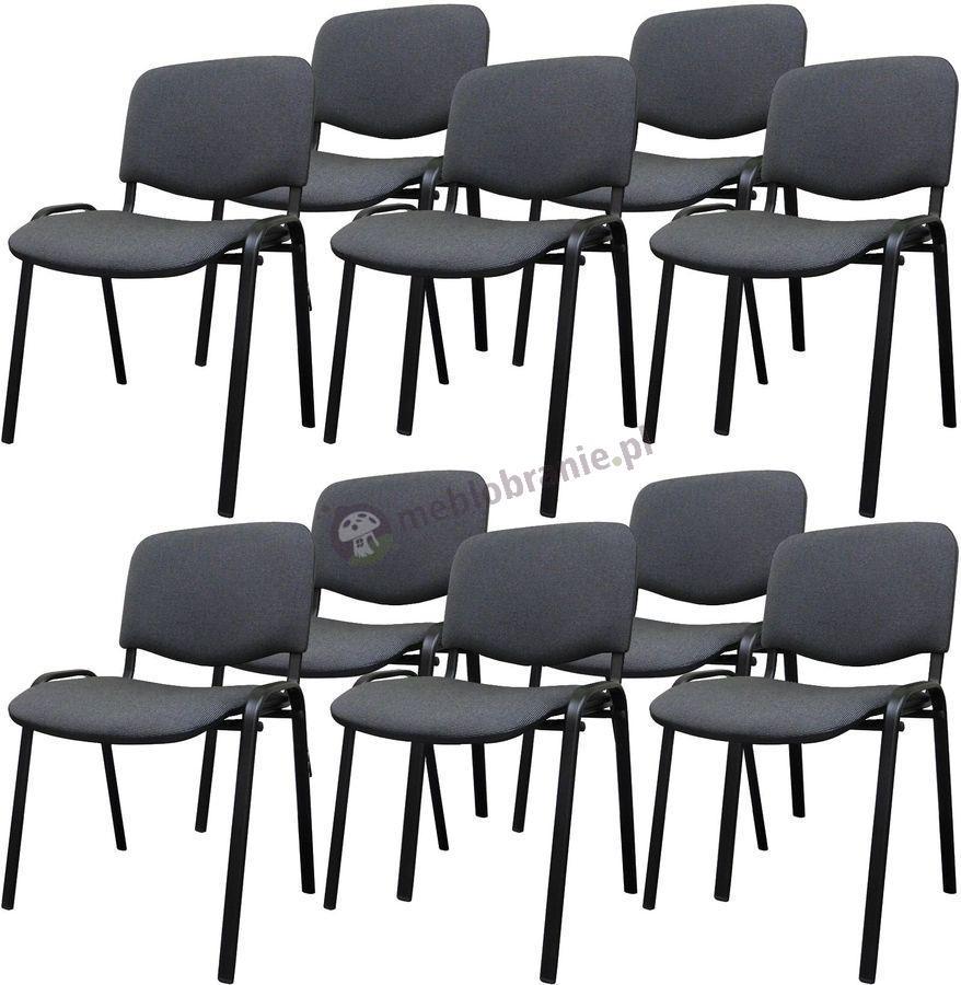 Krzesło ISO Black C26 - 10 sztuk - tapicerowane czarno-szare
