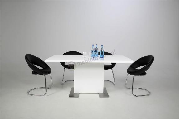 Actona Brick biały stół do jadalni wysoki połysk 180-230cm