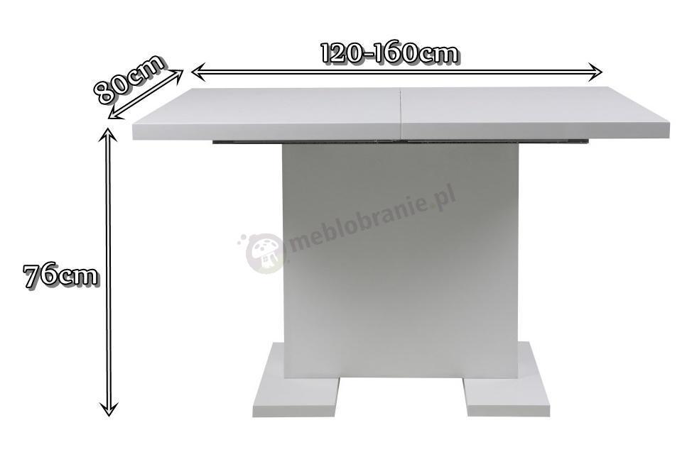 Actona Gust - wymiary rozkładanego stołu