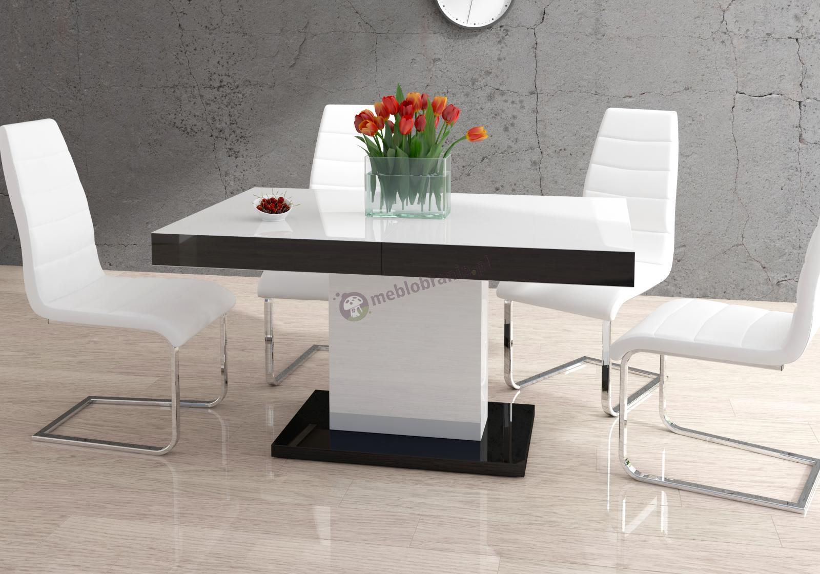 Nowoczesny stół rozkładany Marszel wysoki połysk biało-czarny