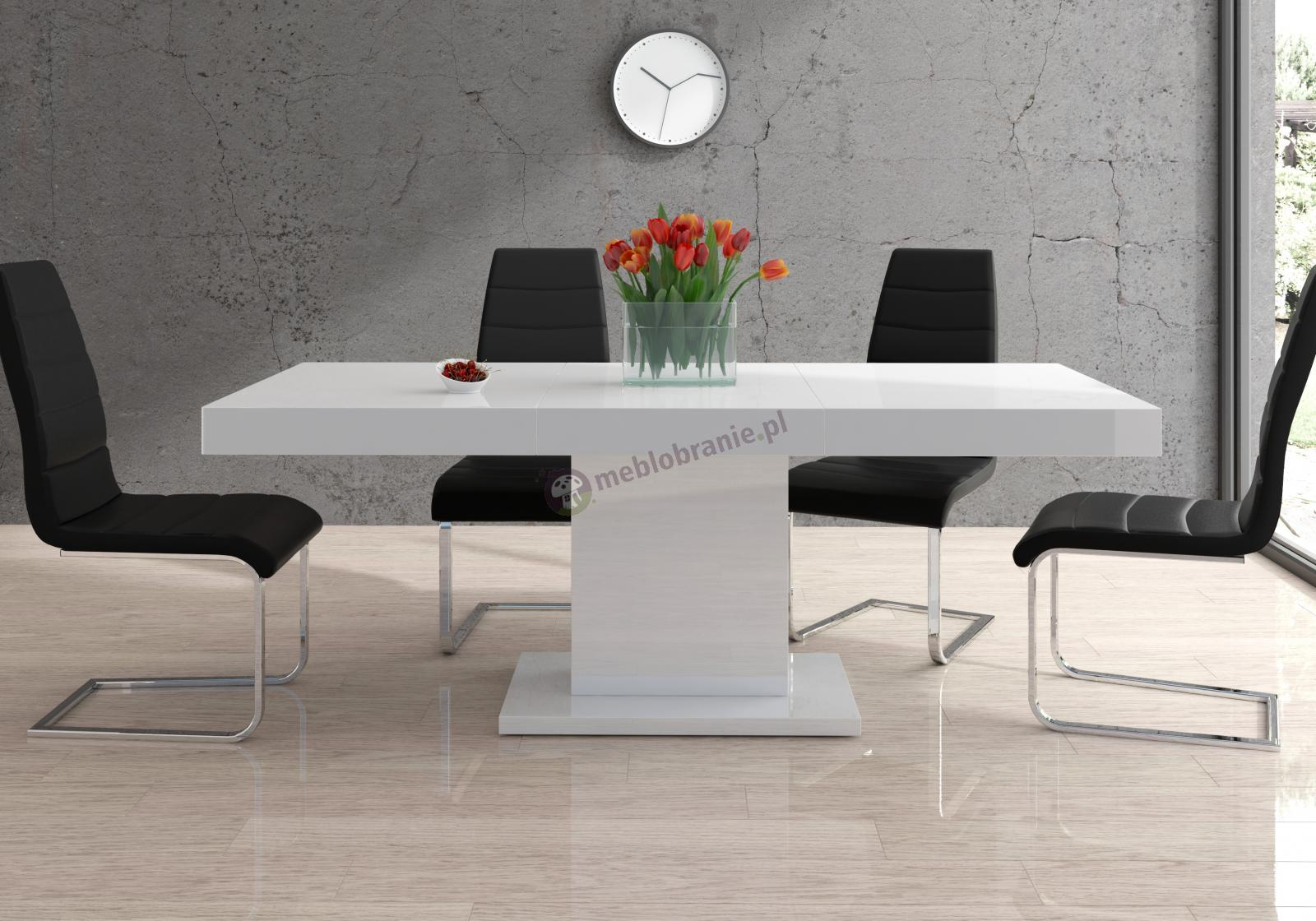 Stół biały wysoki połysk Marszel rozkładany do jadalni