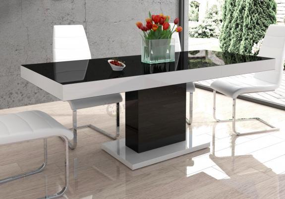 Stół Do Kuchni Rozkładany Wysoki Połysk Marszel Czarno Biały