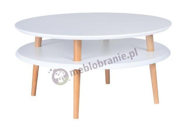 Biały stolik kawowy niski z półką okrągły UFO Low