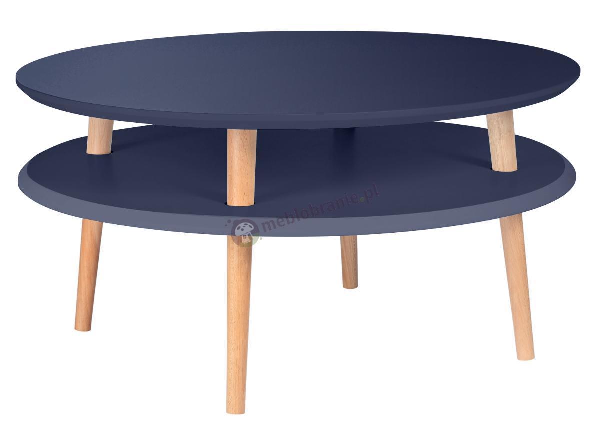 Grafitowy stolik kawowy niski z półką okrągły UFO Low