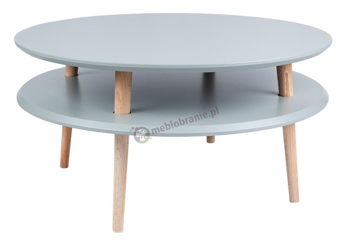 Ciemnoszary stolik kawowy niski z półką okrągły UFO Low