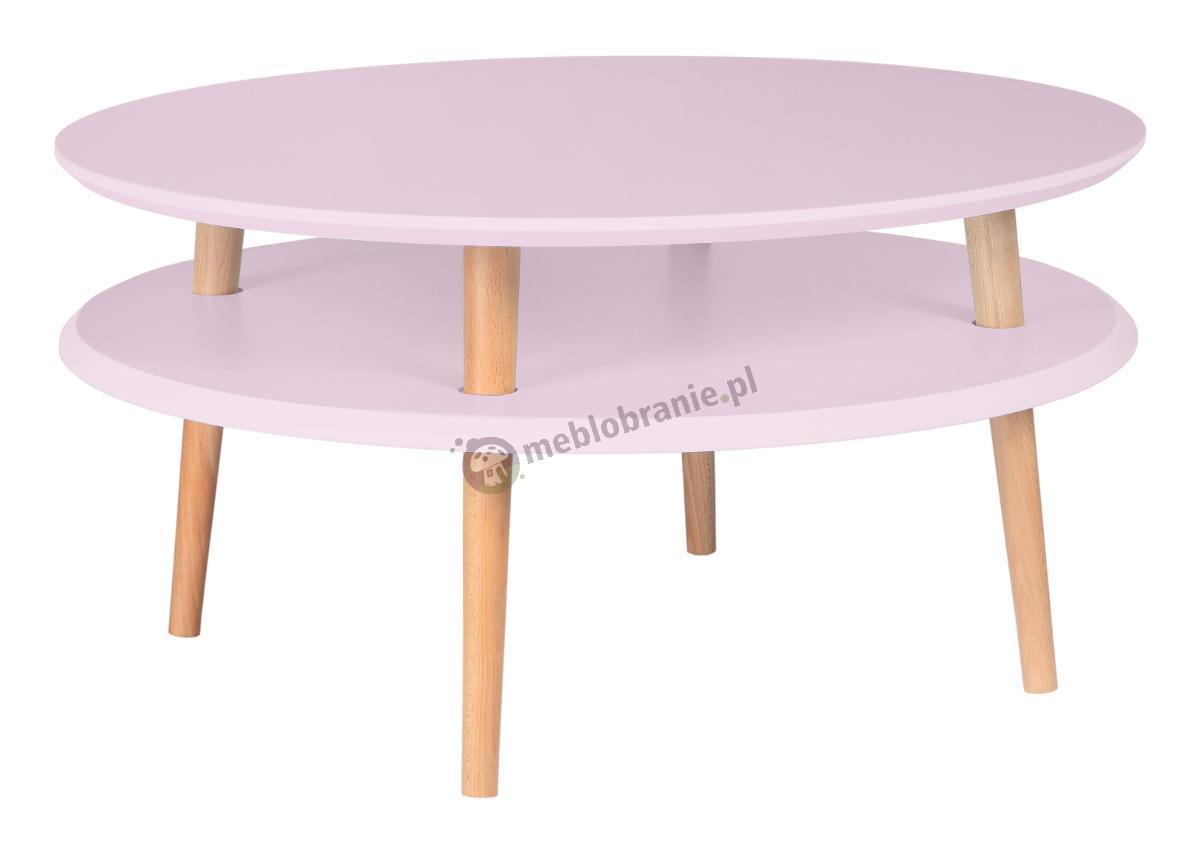 Jasnoróżowy stolik kawowy niski z półką okrągły UFO Low