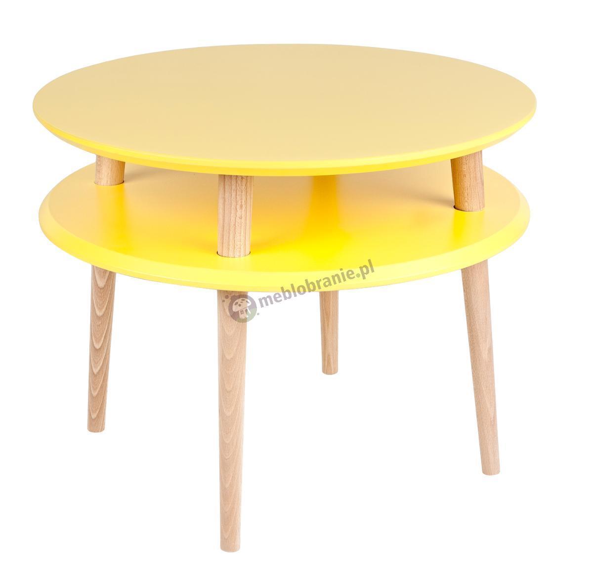 Skandynawski stolik kawowy żółty UFO Medium