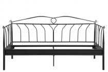 Actona Line czarne łóżko ozdobne z metalu 90x200cm