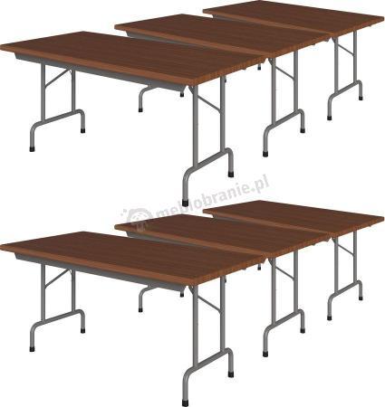 Komplet 6 stołów bankietowych 160x80 Rico 2 Orzech