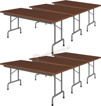 Zestaw 6 stołów bankietowych 180x80 Rico 3 Orzech