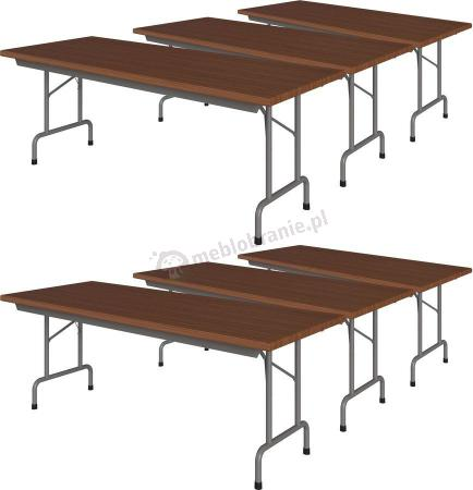 6 stołów bankietowych w komplecie 200x80 Rico 4 Orzech