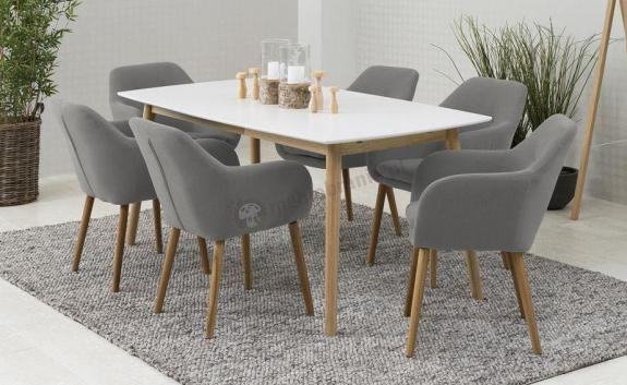 Actona Nagano stół dębowy nowoczesny biały krzesła Emilia