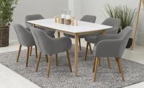 Zestaw Actona Nagano stół dębowy nowoczesny biały krzesła Emilia
