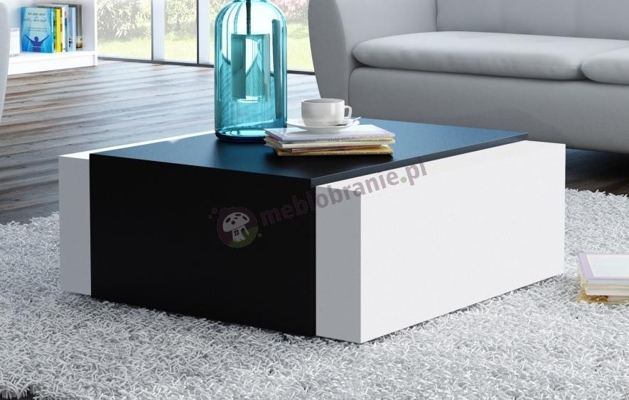 Stolik kawowy kostka do salonu Korfu Biały Mat/Czarny Mat