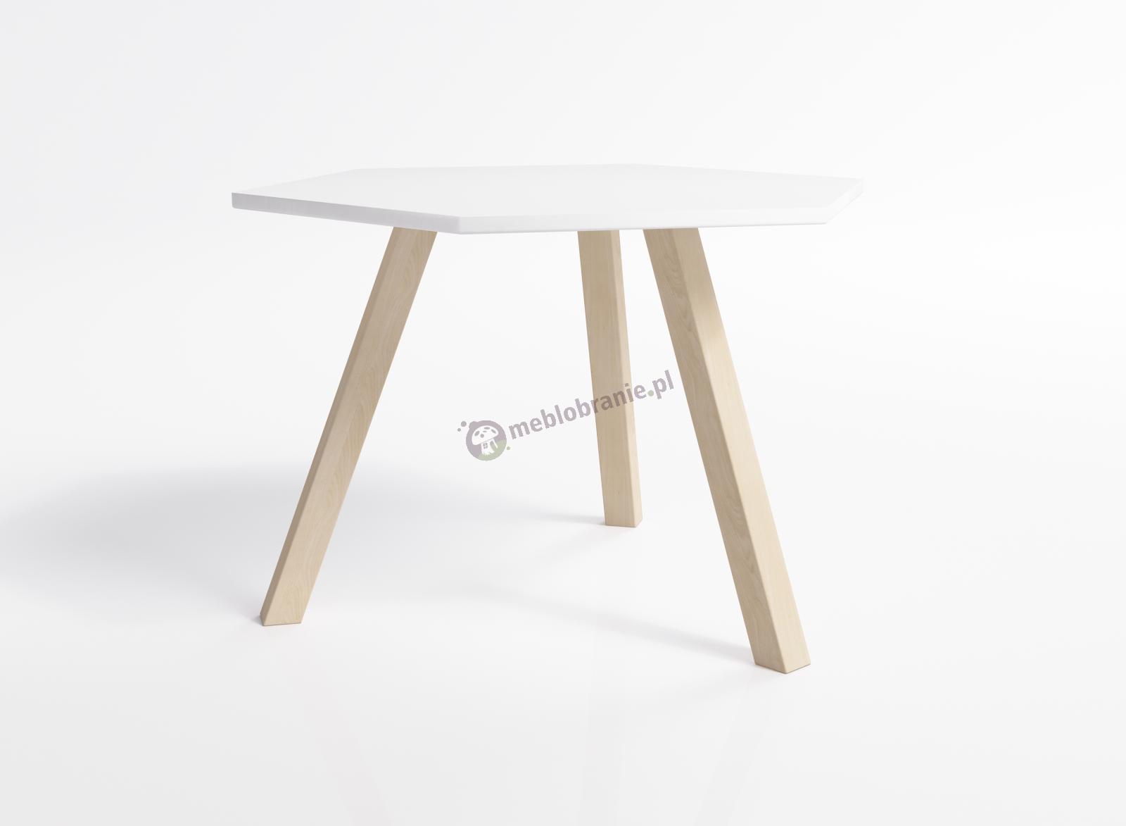Stolik kawowy z 3 nogami z blatem sześciokątnym Juliet