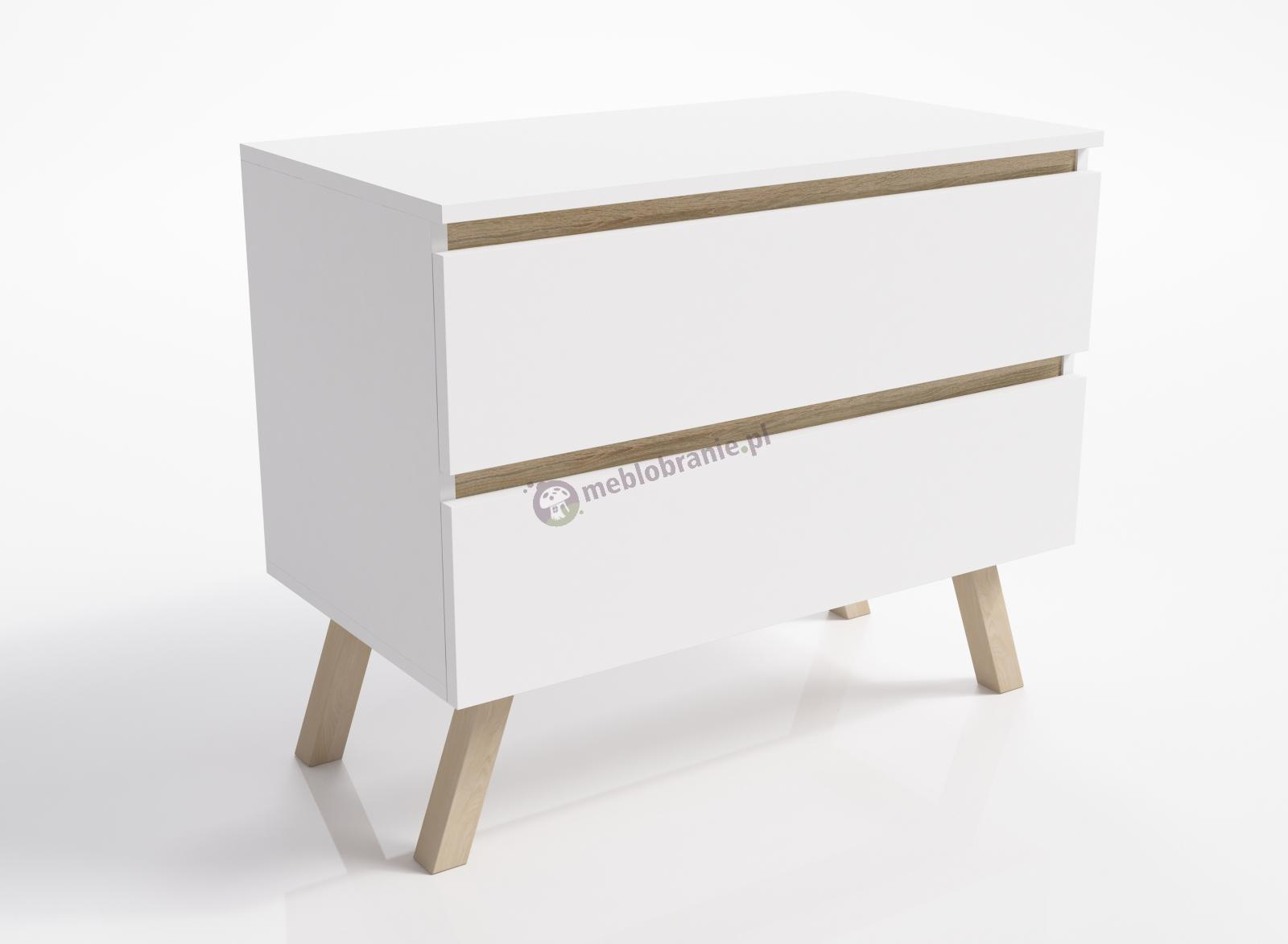 Biała komoda skandynawska z 2 szufladami Otra