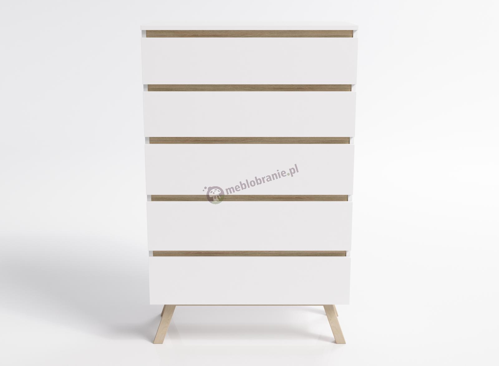 Duża komoda biała w stylu skandynawskim 5 szuflad Sira