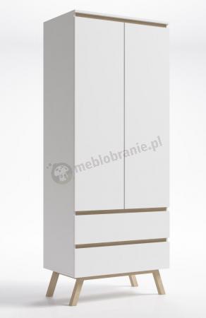Biała szafa nowoczesna skandynawska pokojowa Slogen