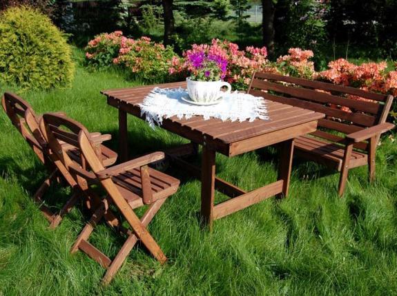 Meble Ogrodowe Drewniane Katowice : Zestaw ogrodowy Katowice (stół, ławka, 2 krzesła)  Meble ogrodowe