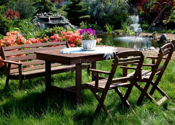 Zestaw ogrodowy Katowice (stół, ławka, 2 krzesła)  Meble ogrodowe