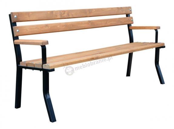Ławka drewniana stalowa z podłokietnikiem Nelia 150 cm