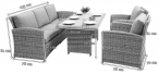 Camino Dining Grey zestaw z technorattanu