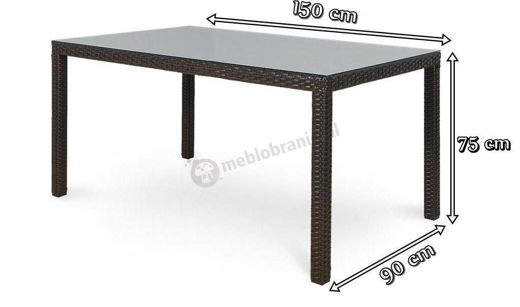 Stół z technorattanu Hamilton Brązowy 150 x 90 cm ...