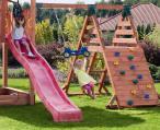 Zjeżdżalnia do ogrodu z huśtawką drewniany domek Kingdom Up&Down+