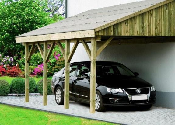 Garaż pojedynczy przyścienny drewniany Bonn 3,5x6m