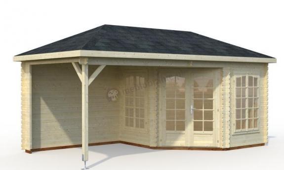 Drewniany domek z zadaszeniem tarasu BASIA D 6x3