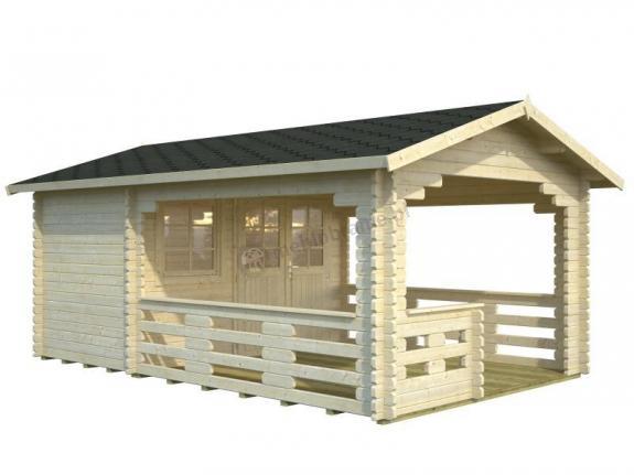 Domek drewniany z tarasem JACEK B 3,5x5,5 (6,1+10,6 m2)