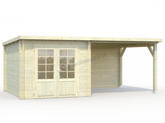 Drewniany domek na działkę z daszkiem ROBERT B 5,5x3