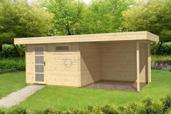Nowoczesny domek drewniany z wiatą KRUK A 6x2,5 (15,2m2)