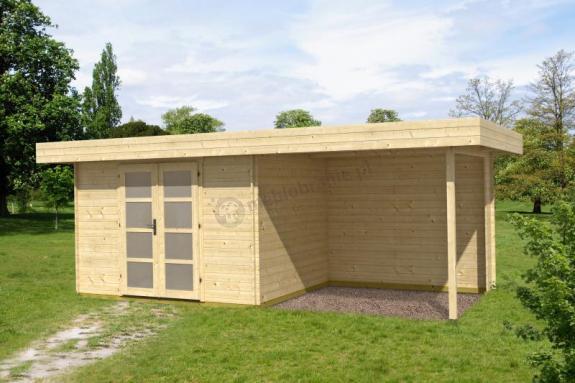 Domek drewniany letniskowy z wiatą KRUK B 6x2,5 (15,2m2)