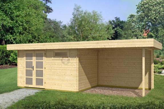 Nowoczesny domek z drewna z wiatą KRUK C  7x2,5 (16,8m2)