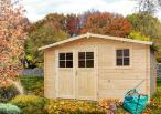 Drewniany domek ogrodowy tarasem Narcyz 416x316