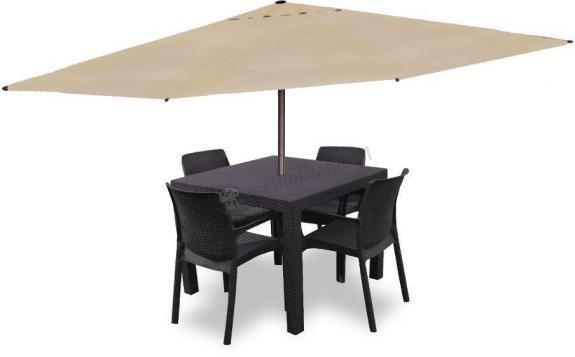 Meble ogrodowe dla 4 osób z parasolem Melody Quartet 4B brązowy